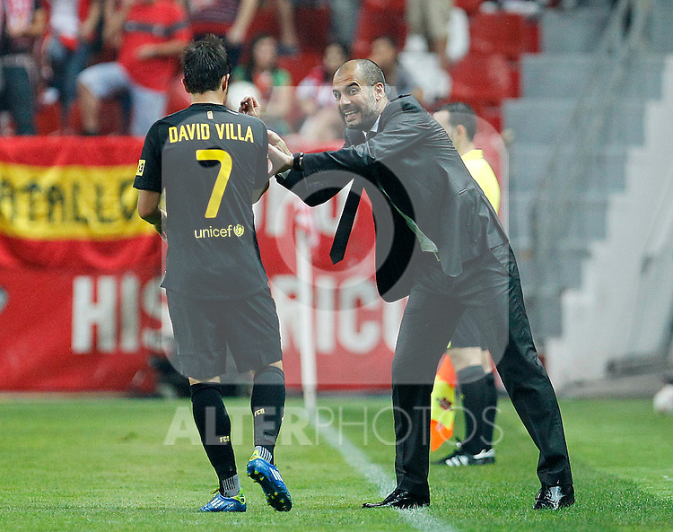 FC Barcelona's coach Pep Guardiola during La Liga match.October 2,2011. (ALTERPHOTOS/Acero)