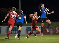 Boyds, MD - Saturday May 20, 2017: Sydney Leroux and Shelina Zadorsky during a regular season National Women's Soccer League (NWSL) match between the Washington Spirit and FC Kansas City at Maureen Hendricks Field, Maryland SoccerPlex.
