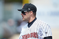 Kannapolis Intimidators center fielder Luis Gonzalez (10) prior to the game against the Lakewood BlueClaws at Kannapolis Intimidators Stadium on April 8, 2018 in Kannapolis, North Carolina.  The Intimidators defeated the BlueClaws 5-1 in game one of a double-header.  (Brian Westerholt/Four Seam Images)