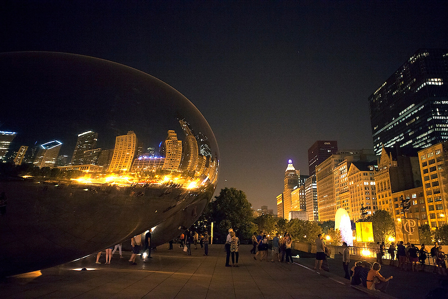 "Cloud Gate, also known as ""The Bean,"" is a public sculpture by Indian-born British artist Anish Kapoor, that is the centerpiece of AT&T Plaza at Millennium Park in the Loop community area of Chicago, Illinois, USA"