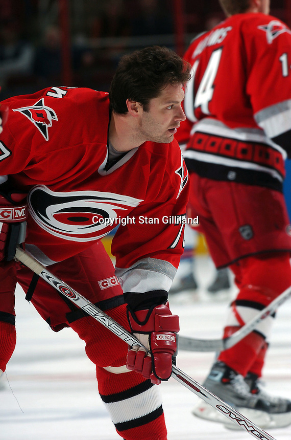 Carolina Hurricanes' Oleg Tverdovsky of Russia warms up prior to a game with the New York Rangers Thursday, Nov. 17, 2005 in Raleigh, NC. Carolina won 5-1.