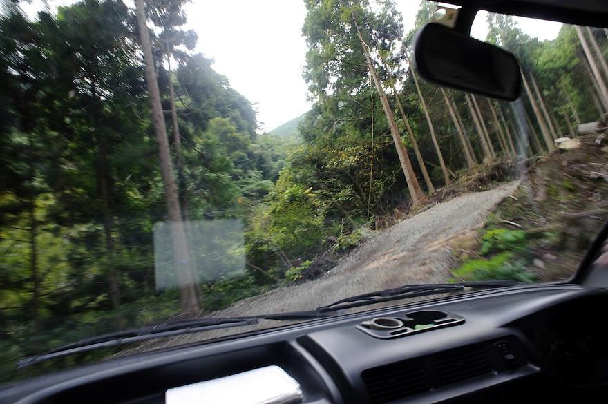 Driving up to the wasabi fields, Marutou Wasabi, Shimoda, Japan, October 17, 2010.