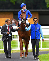 Winner of The Gift Of Sight Appeal EBF Novice Stakes Div 2  Global Hero ridden by Hector Crouch is led into the parade ring during the Bathwick Tyres & EBF Race Day at Salisbury Racecourse on 6th September 2018