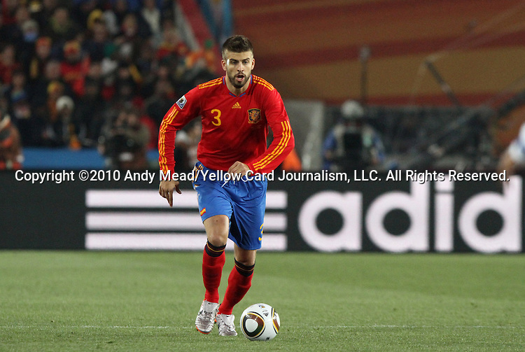 21 JUN 2010: Gerard Pique (ESP). The Spain National Team defeated the Honduras National Team 2-0 at Ellis Park Stadium in Johannesburg, South Africa in a 2010 FIFA World Cup Group H match.