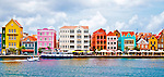 2 August 2009: Buildings display a Dutch Caribbean architectural flavor in Willemstad, the capital city of Curacao. Located in the southern Caribbean, off the coast of Venezuela, Curacao is known for its tourism, excellent scuba diving and snorkeling.  Mandatory Credit: Ed Wolfstein Photo