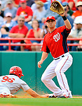 7 March 2012: Washington Nationals infielder Tyler Moore in action against the St. Louis Cardinals at Space Coast Stadium in Viera, Florida. The teams battled to a 3-3 tie in Grapefruit League Spring Training action. Mandatory Credit: Ed Wolfstein Photo