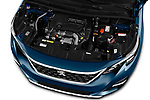 Car stock 2017 Peugeot 5008 GT Line 5 Door SUV engine high angle detail view