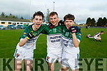 A delighted trio, Dylan Quirke, Eoin Murphy and Jason Murphy from Coláiste Íde agus Iosef, Abbeyfeale after their win over  Gaelcholaiste Chiarrai in the Munster Colleges C Football Final in Brosna on Friday