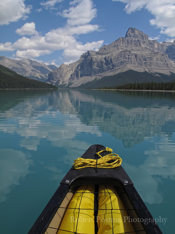 The front of a canoe on Maligne Lake, Jasper National Park.