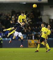 Blackburn Rovers' Darragh Lenihan and Millwall's Lee Gregory<br /> <br /> Photographer Rob Newell/CameraSport<br /> <br /> The EFL Sky Bet Championship - Millwall v Blackburn Rovers - Saturday 12th January 2019 - The Den - London<br /> <br /> World Copyright &copy; 2019 CameraSport. All rights reserved. 43 Linden Ave. Countesthorpe. Leicester. England. LE8 5PG - Tel: +44 (0) 116 277 4147 - admin@camerasport.com - www.camerasport.com