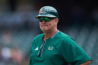 Miami Hurricanes associate head coach Gino DiMare on the field against the Georgia Tech Yellow Jackets during game one of the 2017 ACC Baseball Championship at Louisville Slugger Field on May 23, 2017 in Louisville, Kentucky. The Hurricanes walked-off the Yellow Jackets 6-5 in 13 innings. (Brian Westerholt/Four Seam Images)
