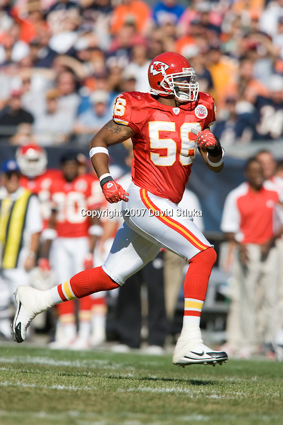 Linebacker Derrick Johnson #56 of the Kansas City Chiefs runs downfield to cover a kick return during an NFL football game against the Chicago Bears at Soldier Field on September 16, 2007 in Chicago, Illinois. The Bears beat the Chiefs 20-10. (Photo by David Stluka)