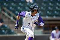 Ronald Bueno (7) of the Winston-Salem Dash hustles down the first base line during the game against the Buies Creek Astros at BB&T Ballpark on April 16, 2017 in Winston-Salem, North Carolina.  The Dash defeated the Astros 6-2.  (Brian Westerholt/Four Seam Images)