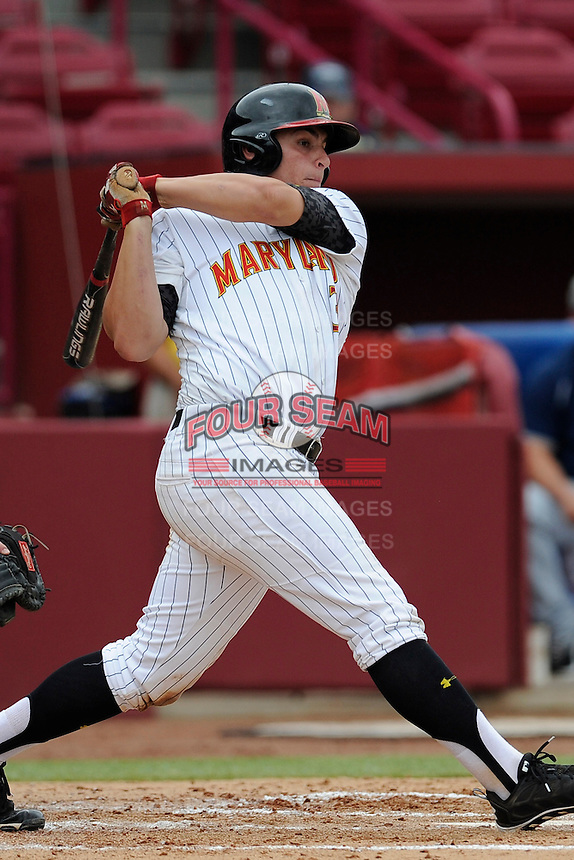 Designated hitter Nick Cieri (31) of the Maryland Terrapins in an NCAA Division I Baseball Regional Tournament game against the Old Dominion Monarchs on Friday, May 30, 2014, at Carolina Stadium in Columbia, South Carolina. Maryland won, 4-3. (Tom Priddy/Four Seam Images)