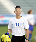 Duke assistant coach Carla Overbeck on Friday, November 4th, 2005 at SAS Stadium in Cary, North Carolina. The University of North Carolina Tarheels defeated the Duke University Blue Devils 2-1 in their Atlantic Coast Conference Tournament Semifinal game.