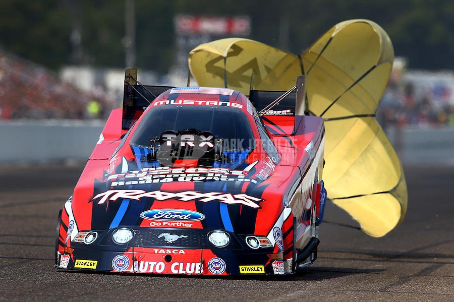 Aug. 18, 2013; Brainerd, MN, USA: NHRA funny car driver Courtney Force during the Lucas Oil Nationals at Brainerd International Raceway. Mandatory Credit: Mark J. Rebilas-
