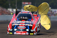 Aug. 18, 2013; Brainerd, MN, USA: NHRA funny car driver Courtney Force during the Lucas Oil Nationals at Brainerd International Raceway. Mandatory Credit: Mark J. Rebilas-
