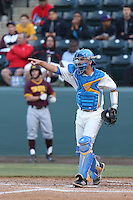 Shane Zeile #9 of the UCLA Bruins during a game against the Arizona State Sun Devils at Jackie Robinson Stadium on March 28, 2014 in Los Angeles, California. UCLA defeated Arizona State 7-3. (Larry Goren/Four Seam Images)