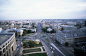 Bucharest, Romania. High view of the National Theatre, the University and the road intersection outside.