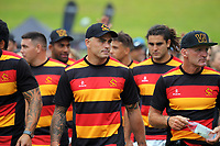 Waikato captain Zac Guildford (centre) during the opening ceremony and teams parade on day one of the 2018 Bayleys National Sevens at Rotorua International Stadium in Rotorua, New Zealand on Saturday, 13 January 2018. Photo: Dave Lintott / lintottphoto.co.nz