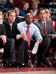 Wisconsin Badgers assistant coaches, from left to right, John Barnes, Oties Epps, and Ty Margenthaler look on during an NCAA college women's basketball game against the Duke Blue Devils during the ACC/Big Ten Challenge at the Kohl Center in Madison, Wisconsin on December 2, 2010. Duke won 59-51. (Photo by David Stluka)