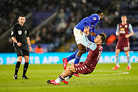 9th March 2020; King Power Stadium, Leicester, Midlands, England; English Premier League Football, Leicester City versus Aston Villa; Jack Grealish of Aston Villa and Wilfred Ndidi of Leicester City collide in midfield