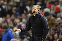 Swansea City Manager Garry Monk shouts in frustration during the Barclays Premier League Match between Liverpool and Swansea City played at Anfield, Liverpool on 29th November 2015