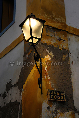 Beautiful old fashioned  street lighting in Paraty's historic center; Paraty, Espirito Santo, Brazil. --- Info: The beautiful colonial town of Paraty has been a UNESCO World Heritage Site since 1958.
