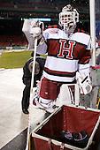Steve Michalek (Harvard - 34) - The Union College Dutchmen defeated the Harvard University Crimson 2-0 on Friday, January 13, 2012, at Fenway Park in Boston, Massachusetts.