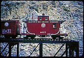Side view of D&amp;RGW caboose #0577 at Cimarron Bridge display.<br /> D&amp;RGW  Cimarron, CO