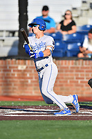 Burlington Royals Jake Means (9) swings at a pitch during game one of the Appalachian League Championship Series against the Johnson City Cardinals at TVA Credit Union Ballpark on September 2, 2019 in Johnson City, Tennessee. The Royals defeated the Cardinals 9-2 to take the series lead 1-0. (Tony Farlow/Four Seam Images)