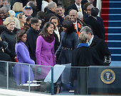 First Lady Michelle Obama and daughters Sasha and Malia arrive for President Barack Obama to sworn-in for a second term as the President of the United States by Supreme Court Chief Justice John Roberts during his public inauguration ceremony at the U.S. Capitol Building in Washington, D.C. on January 21, 2013.      .Credit: Pat Benic / Pool via CNP
