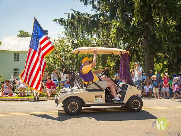 4th of July Parade, Madison, CT. Golf cart with American flag