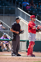 Springfield Cardinals catcher Brian O'Keefe (23) and home plate umpire Luis Hernandez look to the mound between batters on May 19, 2019, at Arvest Ballpark in Springdale, Arkansas. (Jason Ivester/Four Seam Images)