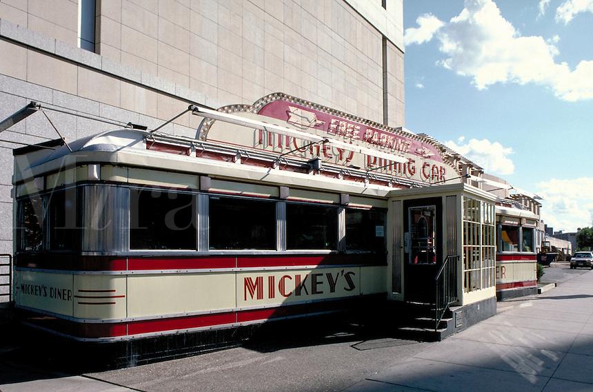 Mickey's Diner, a familiar sight in downtown St.Paul, Minnesota.  Americana, nostalgia, dining, restaurants, architecture. Minnesota.