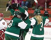 The Big Green celebrate Kelly Foley's (Dartmouth - 4) goal. - The visiting Dartmouth College Big Green defeated the Harvard University Crimson 3-2 on Wednesday, November 23, 2011, at Bright Hockey Center in Cambridge, Massachusetts.