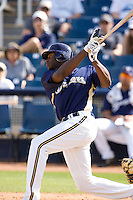 March 13, 2010 - Milwaukee Brewers' Lorenzo Cain (#36) during a spring training game against the Colorado Rockies at Maryvale Baseball Park in Maryvale, Arizona.