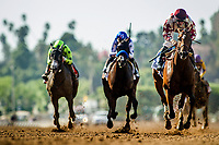 ARCADIA, CA - SEPTEMBER 30: Moonshine Memories #3, ridden by Flavien Prat wins the Chandelier Stakes at Santa Anita Park on September 30, 2017 in Arcadia, California. (Photo by Alex Evers/Eclipse Sportswire/Getty Images)