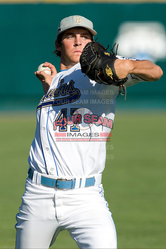 UCLA pitcher Trevor Bauer warms up before Game One of the NCAA Division One Men's College World Series Finals on June 28th, 2010 at Johnny Rosenblatt Stadium in Omaha, Nebraska.  (Photo by Andrew Woolley / Four Seam Images)