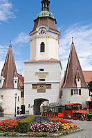 Austria, Lower Austria, UNESCO World Heritage Wachau, Krems: Steinertor - medieval town gate with two gotic, round towers