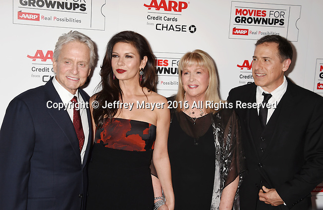 BEVERLY HILLS, CA - FEBRUARY 08: (L-R) Actors Michael Douglas, Catherine Zeta-Jones, Diane Ladd and director/producer David O. Russell attend AARP's Movie For GrownUps Awards at the Regent Beverly Wilshire Four Seasons Hotel on February 8, 2016 in Beverly Hills, California.