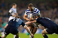 Jamie Roberts of Bath Rugby takes on the Leinster defence. Heineken Champions Cup match, between Leinster Rugby and Bath Rugby on December 15, 2018 at the Aviva Stadium in Dublin, Republic of Ireland. Photo by: Patrick Khachfe / Onside Images