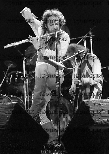 Jethro Tull - Ian Anderson performing live at the Hammersmith Odeon in London UK - 11 Feb 1977.  Photo credit: Ian Dickson/IconicPix