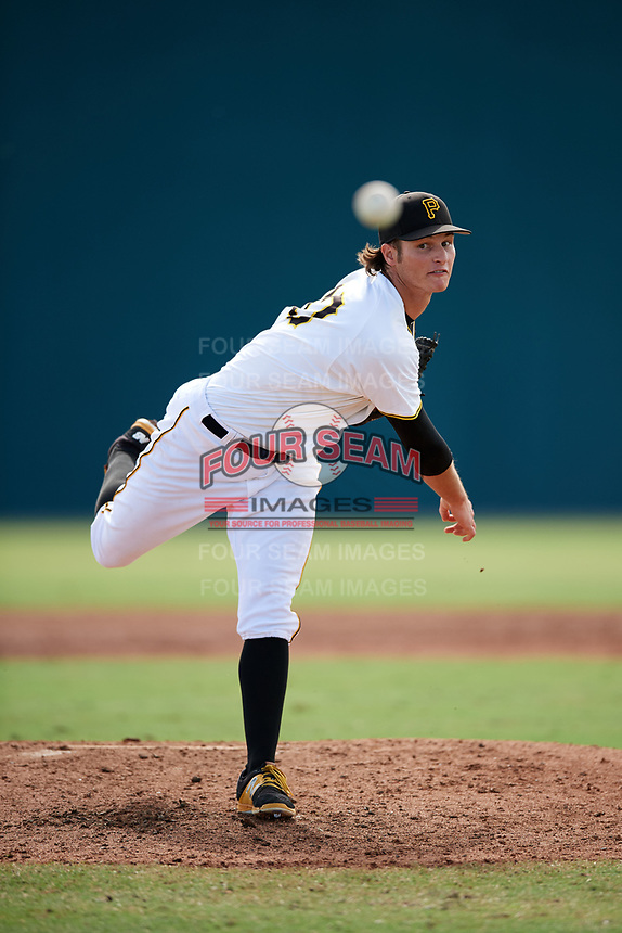 Pittsburgh Pirates pitcher Blake Cederlind (70) follows through on a pitch during an Instructional League game against the Toronto Blue Jays on October 13, 2017 at Pirate City in Bradenton, Florida.  (Mike Janes/Four Seam Images)