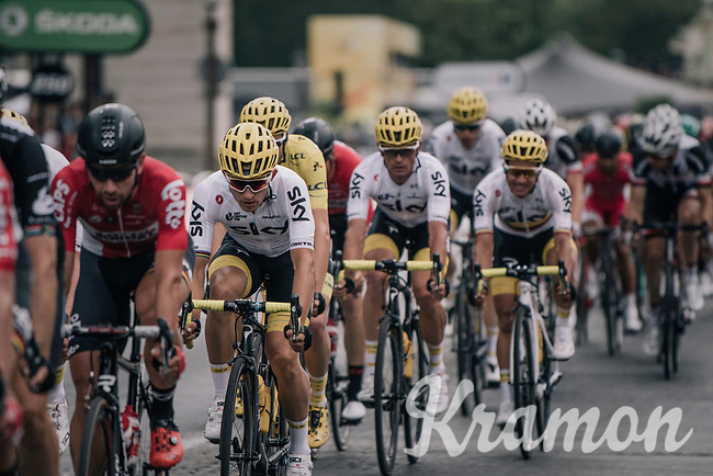Team SKY/Michal Kwiatkowski (POL/SKY) escorting Chris Froome (GBR/SKY) towards his 4th overall victory in the Tour on the Champs-Elys&eacute;es<br /> <br /> 104th Tour de France 2017<br /> Stage 21 - Montgeron &rsaquo; Paris (105km)