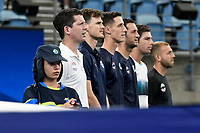 7th January 2020; Sydney Olympic Park Tennis Centre, Sydney, New South Wales, Australia; ATP Cup Australia, Sydney, Day 5; Great Britain versus Moldova; Cameron Norrie of Great Britain versus Alexander Cozbinov of Moldova; Team Great Britain line up for national anthems before the match, led by Tim Henman captain of the Great Britain team - Editorial Use