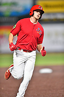 Johnson City Cardinals Chandler Redmond (25) rounds the bases after hitting a home run during game two of the Appalachian League, West Division Playoffs against the Bristol Pirates at TVA Credit Union Ballpark on August 31, 2019 in Johnson City, Tennessee. The Cardinals defeated the Pirates 7-4 to even the series at 1-1. (Tony Farlow/Four Seam Images)