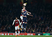 2nd November 2017, Emirates Stadium, London, England; UEFA Europa League group stage, Arsenal versus Red Star Belgrade; Rob Holding of Arsenal heads the ball above Nemanja Milic of Red Star Belgrade