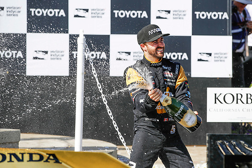 2017 Verizon IndyCar Series<br /> Toyota Grand Prix of Long Beach<br /> Streets of Long Beach, CA USA<br /> Sunday 9 April 2017<br /> James Hinchcliffe, champagne, podium<br /> World Copyright: Michael L. Levitt<br /> LAT Images