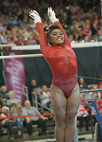 NWA Democrat-Gazette/ANDY SHUPE<br /> Arkansas' Jessica Yamzon competes in the bars Saturday, Jan. 5, 2019, during the Razorbacks' meet with No. 2 Oklahoma in Barnhill Arena in Fayetteville. Visit nwadg.com/photos to see more photographs from the meet.